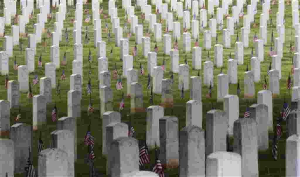 Banderas estadounidenses adornan el cementerio de Washington.