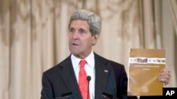 US Secretary of State John Kerry speaks during the release of the 2014 Trafficking in Persons Report.