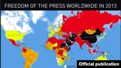Tình hình tự do báo chí trên thế giới năm 2013 do RSF thực hiện (bấm vào hình để phóng lớn)