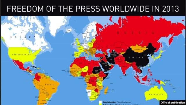 """Indeks slobode medija u svetu za 2013. godinu organizacije """"Reporteri bez granica"""""""
