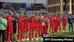 اعضای تیم ملی فوتبال افغانستان در رقابت با تیم فلسطین