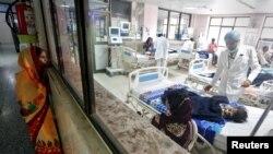 Dans une cellule de soin intensif dans un hopital, en Inde, le 14 août 2017.