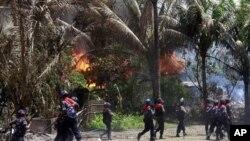 지난달 12일 불교도 주민들과 로힝야족 무슬림들간에 유혈충돌이 벌어진 마을.