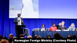 South Sudanese Foreign Minister Barnaba Marial Benjamin gives a speech at the pledging conference for South Sudan in Oslo, Norway on Tuesday, May 20, 2014.