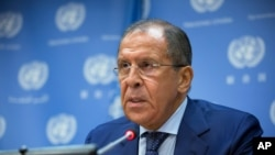 FILE - Russian Foreign Minister Sergei Lavrov speaks at United Nations headquarters, Oct. 1, 2015. On Wednesday, Lavrov said Turkey's downing of a Russian fighter jet will change the countries' relationship.