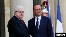 Rais wa Ufarans Francois Hollande (R) na Rais wa Iraq Fouad Massoum