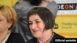 Staša Zajović, jedna od osnivačica nevladine organizacije Žene u crnom, u Medija centru u Beogradu, 13. oktobra 2017. (Foto: Medija centar Beograd)