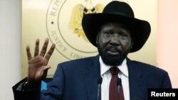 Presiden Sudan Selatan Salva Kiir dalam sebuah konferensi pers di Juba, Rabu (18/12).