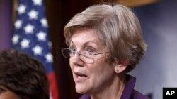 马塞诸塞州参议员沃伦在记者会上对众议院通过巨额预算法案表示不满