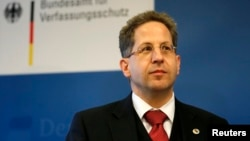 FILE - President of Germany's intelligence agency Hans-Georg Maassen at the Federal Office for the Protection of the Constitution in Cologne