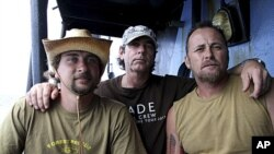 Activists from Forest Rescue - Geoffrey Owen Tuxworth, 47, Simon Peterffy, 44, and Glen Pendlebury, 27- aboard the Sea Shepherd Conservation Society's vessel, the Steve Irwin, in Freemantle, Australia (File).