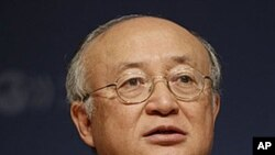 Director General of the International Atomic Energy Agency, IAEA, Yukiya Amano speaks to the media during a press conference at the OECD headquarters in Paris, France, April 28, 2011