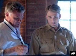 "Joe Johnston and Chris Evans in ""Captain America: The First Avenger"""