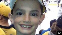 4月15日波士顿马拉松赛终点线爆炸中遇害的三人之一:马丁.理查德遗像(他的父亲比尔.理查德提供)