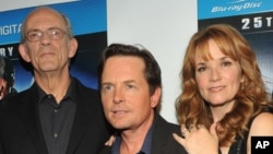 From left, Christopher Lloyd, Michael J. Fox, and Lea Thompson at the Back to the Future 25th Anniversary.
