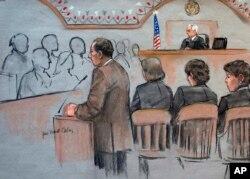 Trong bức phác họa phiên xử, công tố viên William Weinreb, trái, nói lời mở đầu trước thẩm phán George O'Toole Jr., hôm thứ Tư, 4/3/2015.
