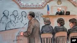 La scène au tribunal où est jugé Djokhar Tsarnaev à Boston (AP)