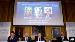瑞典皇家科学院10月14日在斯德哥尔摩宣布2013年诺贝尔经济学奖获奖人的名单