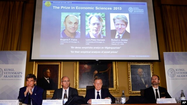 The Royal Swedish Academy of Sciences announces the winners of 2013 Nobel Memorial Prize in Economic Sciences as Eugene Fama, Lars Peter Hansen and Robert Shiller in Stockholm, Oct. 14, 2013.