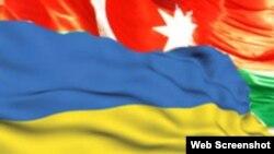 Azərbaycan və Ukrayna bayraqları