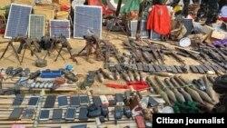 သီးမူထာ စခန်းသိမ်းတိုက်ပွဲမှာဖမ်းမိတဲ့ စစ်သုံးပန့်များနဲ့ စစ်လက်နက်များ (မတ္လ၊ ၂၇၊ ၂၀၂၁ တပ်မဟာ၅ KNU)