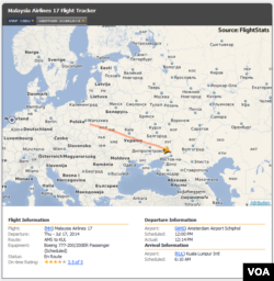 Malaysia Airlines MH 17 partial flight path from Amsterdam, July 17, 2014