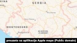 Epl mapa na kojoj je Kosovo predstavljeno kao deo Srbije (Foto: Apple maps)