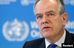 Etienne Krug, director of the WHO's Department for the Management of Noncommunicable Diseases, Disability, Violence and Injury Prevention, addresses a news conference, in Geneva, Oct. 19, 2015.