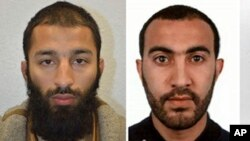 A combo handout issued by the Metropolitan Police, June 6, 2017, shows Khuram Shazad Butt (L) and Rachid Redouane (R), named as two of three suspects in Saturday's attack at London Bridge. (Metropolitan Police via AP)