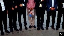 Ảnh của phóng viên James Foley bị Nhà nước Hồi giáo sát hại trong buổi lễ tưởng niệm tại Irbil, 350km (220 dặm) phía bắc Baghdad, Iraq, ngày 24/8/2014.