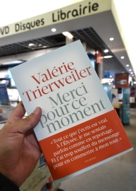 "The book of French President former partner Valerie Trierweiler entitled ""Merci pour ce moment"" (Thanks you for this moment) some hours after its release in a Montpellier bookstore, Sept. 4, 2014."