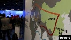 올해 초 홍콩에서 진행된 아시아금융포럼 회의장에 게시된 중국 정부의 '일대일로' 구상 개념도. (자료사진)