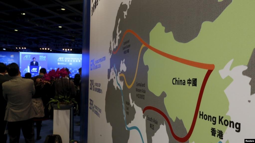 Bản đồ minh họa vành đai kinh tế con đường tơ lụa của Trung Quốc và con đường tơ lụa hàng hải thế kỷ 21 gọi là 'Một Vành đai Một Con đường'