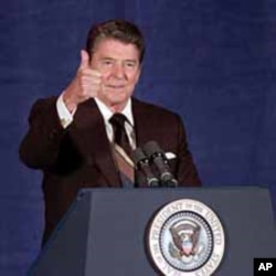 President Ronald Reagan gives thumbs up sign during a 1985 speech in Oklahoma City.