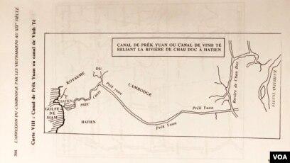 Sơ đồ Canal de Prêk Yuan, tên Khmer của con kênh Vĩnh Tế, với ghi chú tiếng Pháp: Canal de Prêk Yuan ou Canal de Vinh Te Reliant la Rivière de Chau Đoc à Hà Tien, trang 394 sách đã dẫn [tư liệu Ngô Thế Vinh]