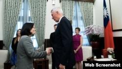 台湾总统蔡英文2017年6月7日会见美国智库专家(台湾总统府网络照片)