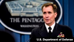 Chuẩn Đô đốc John Kirby cho biết máy bay điều khiển từ xa đã tấn công các chiến binh của nhóm Nhà nước Hồi giáo.