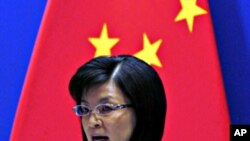 ທ່ານນາງ Jiang Yu ໂຄສົກກະຊວງການຕ່າງປະເທດຈີນ ກ່າວຕໍ່ກອງປະຊຸມນັກຂ່າວທີ່ກຸງປັກກິງ. ວັນທີ 7 ທັນວາ 2010