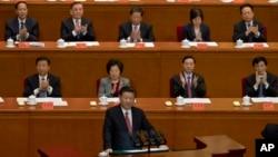 Presiden China Xi Jinping menyampaikan pidato pada perayaan ulang tahun presiden pertama China Sun Yat-sen yang ke-150, Jumat (11/11) di Beijing, China (AP Photo/Ng Han Guan).