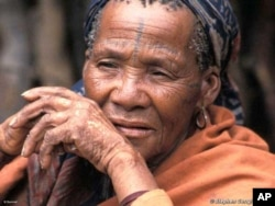 An elderly Bushman woman inside a 'relocation camp' on the fringes of the CKGR
