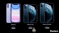 Фил Шиллер, старший вице-президент по всемирному маркетингу в Apple представляет новые смартфоны iPhone 11 и iPhone 11 Pro