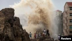 지난 8일 태풍 '사우델로르'가 중국 동남부 연안에 접근하고 있다.