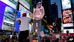 紐約時報廣場出現的抗議人群