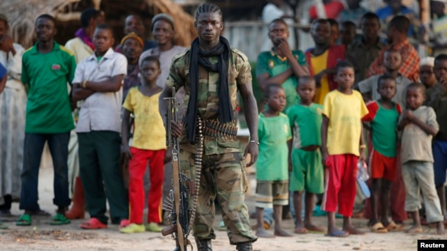 A Seleka fighter stands in a village close to the border of the Democratic Republic of Congo, June 10, 2014.