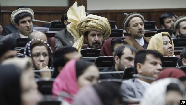 Some members of the Afghan parliament are pictured during a session in Kabul (file photo).