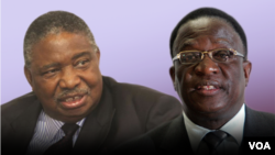 Zimbabwe Vice President Phelekezela Mphoko (L) and former Vice President Emmerson Mnangagwa (R). (Collage by Ntungamili NKomo)