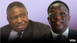 Zimbabwe Vice Presidents-Elect Phelekezela Mphoko (L) and Emmerson Mnangagwa (R). (Collage by Ntungamili NKomo)