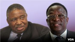 Zimbabwe Vice Presidents Phelekezela Mphoko (L) and Emmerson Mnangagwa (R). (Collage by Ntungamili NKomo)