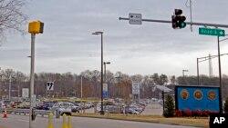 位于马里兰州米德堡的国家安全局入口拉上了黄条。(2018年2月14日)