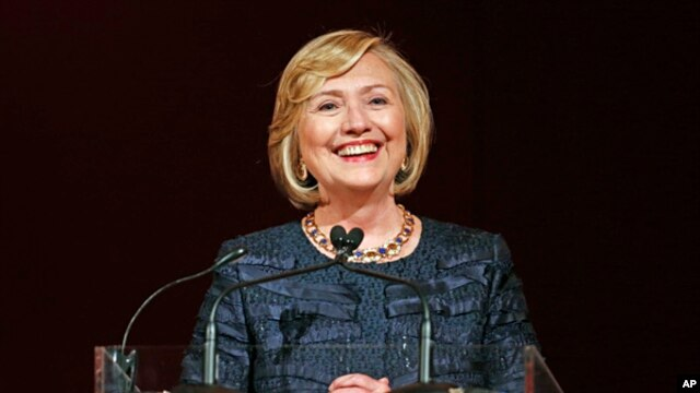 Former U.S. Secretary of State Hillary Rodham Clinton shown during the Chatham House Prize award ceremony in central London, Oct. 11, 2013.